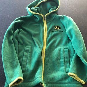 VGUC John Deere zip up fleece w/ hood size 7